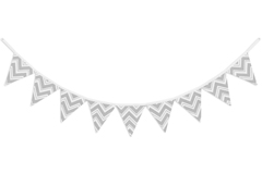 Gray and White Zig Zag Chevron Fabric Pennant Flag Banner Bunting Nursery Baby Wall D�cor
