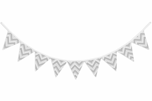 Gray and White Zig Zag Chevron Fabric Pennant Flag Banner Bunting Nursery Baby Wall Décor - Click to enlarge