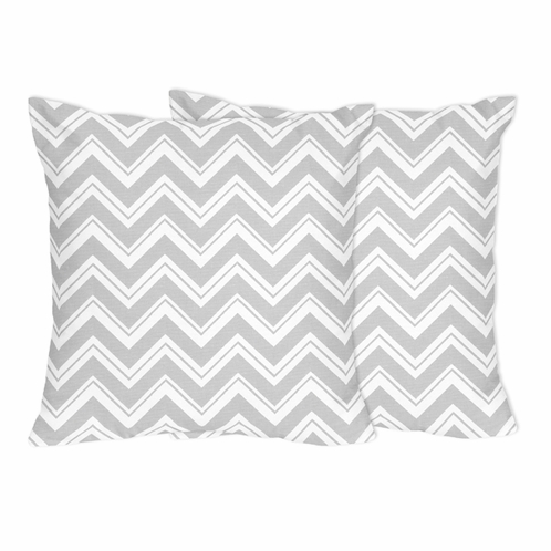 Gray and White Zig Zag Decorative Chevron Accent Throw Pillows by Sweet Jojo Designs - Set of 2 - Click to enlarge