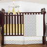 Gray and Yellow Chevron Zig Zag Baby Bedding - 4pc Crib Set by Sweet Jojo Designs