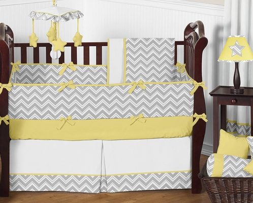 Gray and yellow chevron zig zag baby bedding 9pc crib for Zig zag bedroom ideas