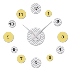 Gray and Yellow Chevron Zig Zag DIY Clock and Decal Set