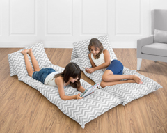 Gray Chevron Zig Zag Collection Kids Teen Floor Pillow Case Lounger Cushion Cover by Sweet Jojo Designs