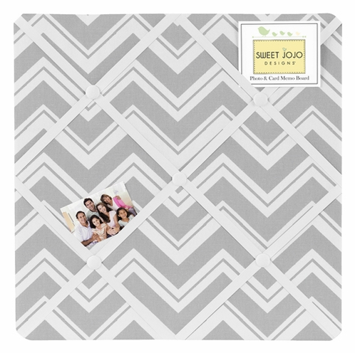 Gray Chevron Zig Zag Fabric Memory/Memo Photo Bulletin Board by Sweet Jojo Designs - Click to enlarge
