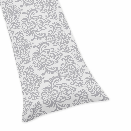 Gray Damask Full Length Double Zippered Body Pillow Case Cover for Sweet Jojo Designs Skylar Sets - Click to enlarge