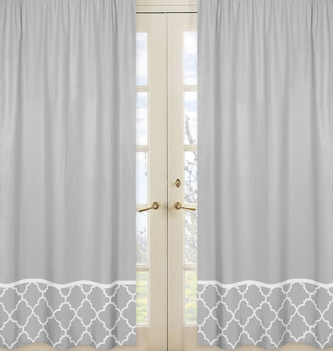 Gray Window Treatment Panels for Gray and White Trellis Collection - Set of 2 - Click to enlarge