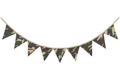 Green and Brown Camo Army Camouflage Fabric Pennant Flag Banner Bunting Nursery Baby Wall D�cor