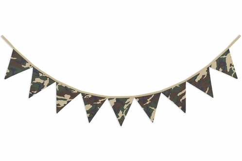 Green and Brown Camo Army Camouflage Fabric Pennant Flag Banner Bunting Nursery Baby Wall Décor - Click to enlarge