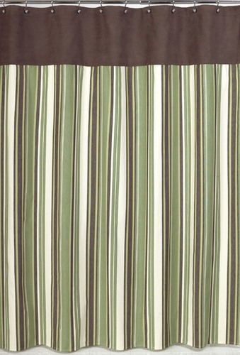 Green and Brown Ethan Kids Bathroom Fabric Bath Shower Curtain - Click to enlarge