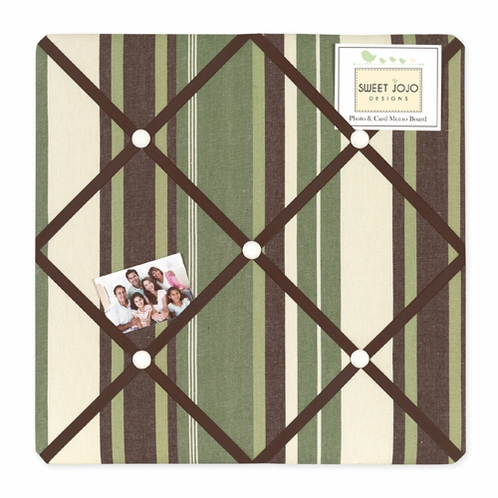 Green and Brown Ethan Modern Fabric Memory/Memo Photo Bulletin Board - Click to enlarge