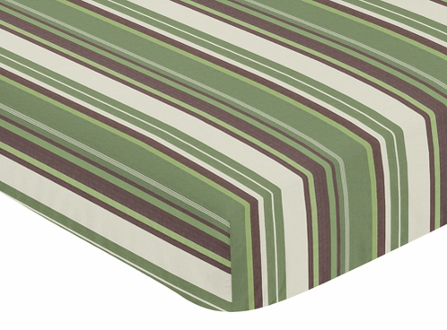 Green and Brown Ethan Modern Fitted Crib Sheet for Baby and Toddler Bedding Sets - Stripe Print - Click to enlarge