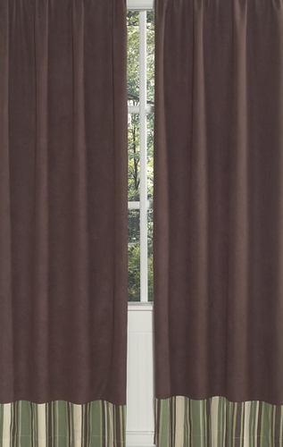 Green and Brown Ethan Modern Window Treatment Panels - Set of 2 - Click to enlarge
