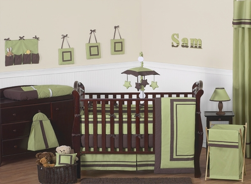 Green And Brown Hotel Modern Baby Bedding 9 Pc Crib Set Click To Enlarge