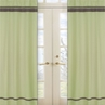 Green and Brown Hotel Window Treatment Panels - Set of 2