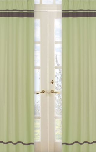 Green and Brown Hotel Window Treatment Panels - Set of 2 - Click to enlarge