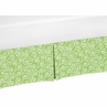 Green and White Scroll Print Crib Bed Skirt for Olivia Baby Bedding Sets by Sweet Jojo Designs