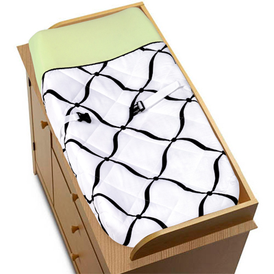 Green, Black and White Princess Baby Changing Pad Cover by Sweet Jojo Designs - Click to enlarge