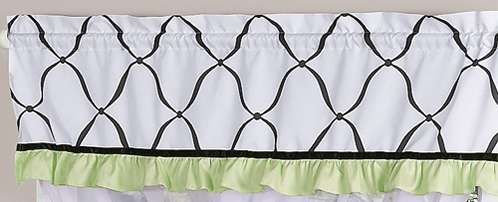 Green, Black and White Princess Girls Window Valance by Sweet Jojo Designs - Click to enlarge