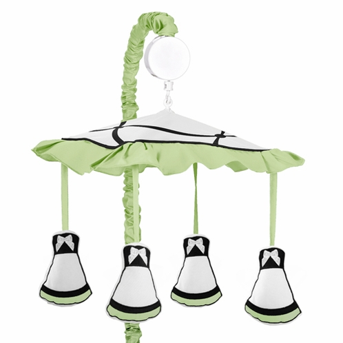 Green, Black and White Princess Musical Baby Crib Mobile by Sweet Jojo Designs - Click to enlarge