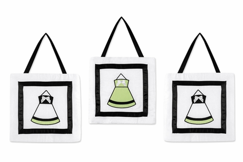 Green, Black and White Princess Wall Hanging Accessories by Sweet Jojo Designs - Click to enlarge