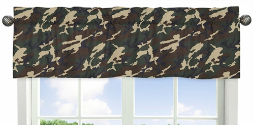 Green Camo Army Camouflage Collection Window Valance by Sweet Jojo Designs - Click to enlarge