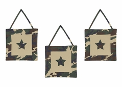 Green Camo Army Military Camouflage Wall Hanging Accessories by Sweet Jojo Designs