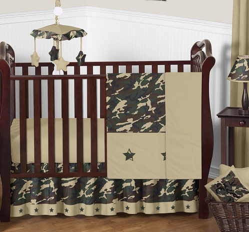 Green Camo Baby Bedding - 11pc Crib Set - Click to enlarge
