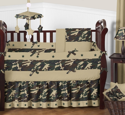 Green Camo Baby Bedding 9pc Crib Set Click To Enlarge