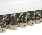 Green Camo Bed Skirt for Toddler Bedding Sets by Sweet Jojo Designs