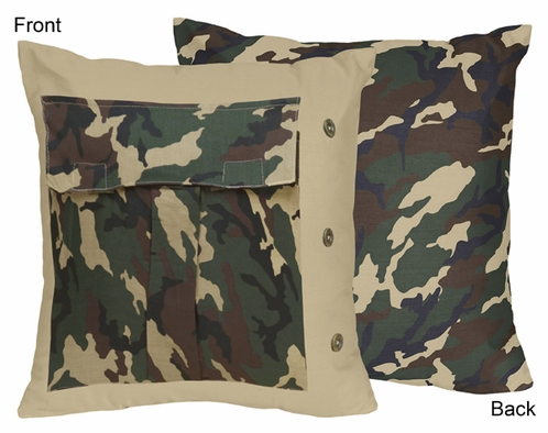 Green Camo Decorative Accent Throw Pillow by Sweet Jojo Designs - Click to enlarge