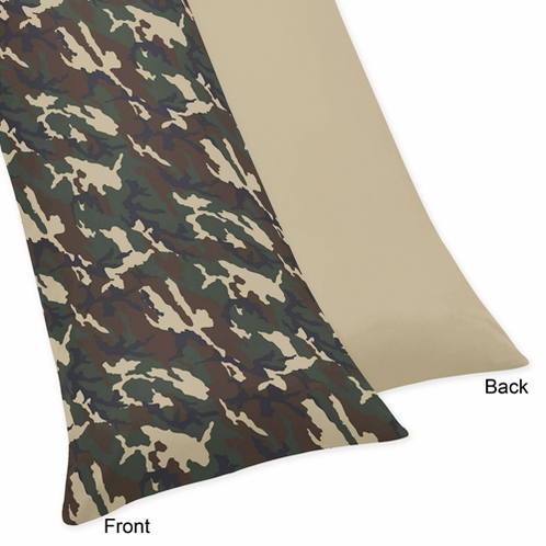 Green Camo Full Length Double Zippered Body Pillow Case Cover by Sweet Jojo Designs - Click to enlarge