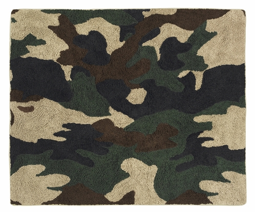 Green Camo Military Accent Floor Rug - Click to enlarge