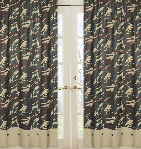 Green Camo Window Treatment Panels - Set of 2 - Click to enlarge