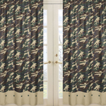 Green Camo Window Treatment Panels - Set of 2