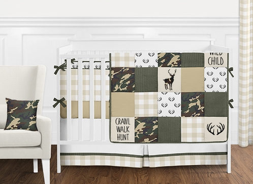Green Cream And Beige Woodland Camo Rustic Deer Patchwork Baby Boy Crib Bedding Set With