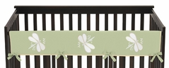 Green Dragonfly Dreams Baby Crib Long Rail Guard Cover by Sweet Jojo Designs