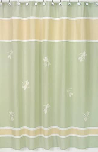 Green Dragonfly Dreams Kids Bathroom Fabric Bath Shower Curtain - Click to enlarge
