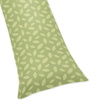 Green Leaf Print Full Length Double Zippered Body Pillow Case Cover for Sweet Jojo Designs Jungle Time Sets