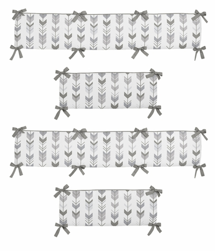 Grey and White Baby Crib Bumper Pad for Woodland Arrow Collection by Sweet Jojo Designs - Click to enlarge