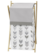 Grey and White Baby Kid Clothes Laundry Hamper for Woodland Arrow Collection by Sweet Jojo Designs