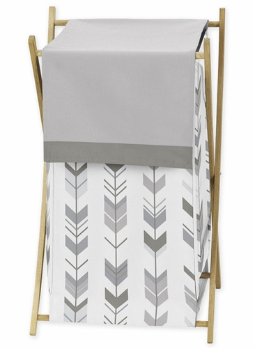 Grey and White Baby Kid Clothes Laundry Hamper for Woodland Arrow Collection by Sweet Jojo Designs - Click to enlarge