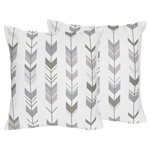 Grey and White Decorative Accent Throw Pillows for Woodland Arrow Collection by Sweet Jojo Designs - Set of 2