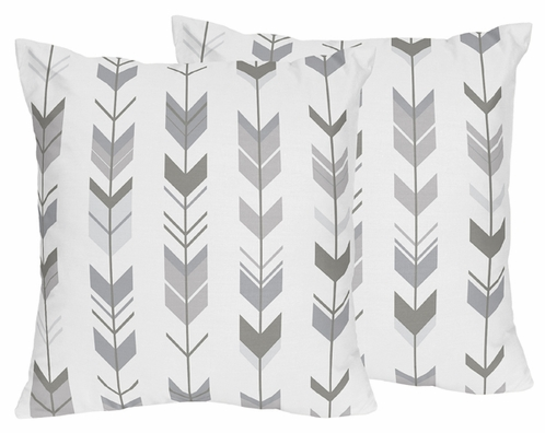 Grey and White Decorative Accent Throw Pillows for Woodland Arrow Collection by Sweet Jojo Designs - Set of 2 - Click to enlarge