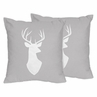 Grey and White Deer Decorative Accent Throw Pillows for Woodsy Collection by Sweet Jojo Designs - Set of 2