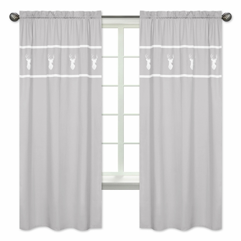 Grey and White Deer Window Treatment Panels Curtains for Woodsy Collection by Sweet Jojo Designs - Set of 2 - Click to enlarge