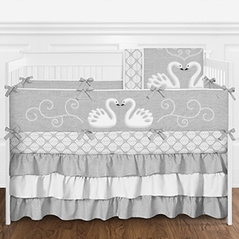 Grey and White Elegant Woodland Swan Baby Girl Crib Bedding Set with Bumper by Sweet Jojo Designs - 9 pieces