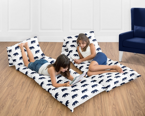 Navy Blue and White Kids Floor Pillow Case Lounger Cushion Cover for Big Bear Collection (Pillow Not Included) - Click to enlarge