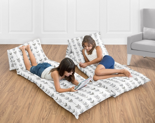 Grey and White Kids Floor Pillow Case Lounger Cushion Cover for Woodland Arrow Collection by Sweet Jojo Designs (Pillow Not Included) - Click to enlarge