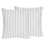 Grey and White Leaf Print Decorative Accent Throw Pillows for Forest Deer and Dandelion Collection by Sweet Jojo Designs - Set of 2
