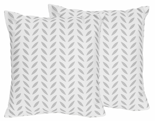 Grey and White Leaf Print Decorative Accent Throw Pillows for Forest Deer and Dandelion Collection by Sweet Jojo Designs - Set of 2 - Click to enlarge